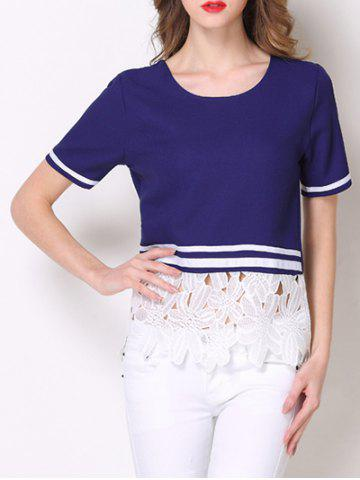 Best Floral Lace Insert Striped Contrast Tee