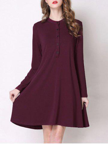 Trendy Stand Collar Button Design Pure Color Women's Dress - Wine Red - Xl