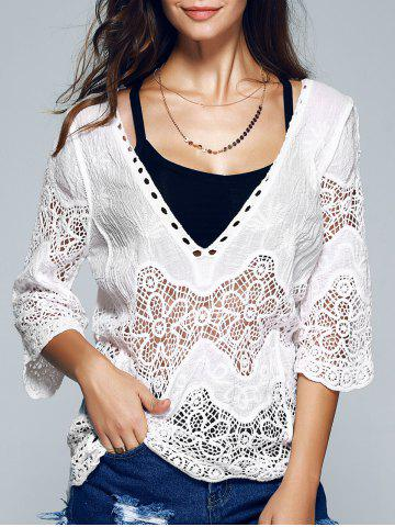 Store 3/4 Sleeve Plunging Neck Crocheted Blouse