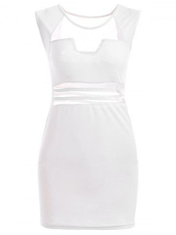 Trendy Hot Tulle Cutout See Through Mini Club Fitted Bandage Dress WHITE L
