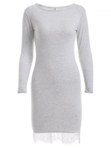 Best Long Sleeve Round Neck Lace Spliced Hem Dress