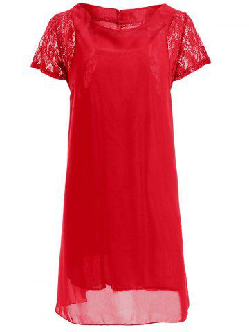 Lace Spliced Short Sleeve Round Neck Chiffon Dress - Red - L