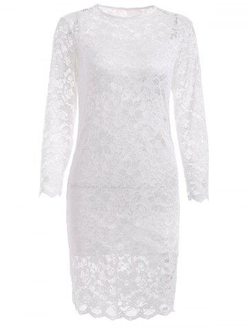 Online Lace Tight Homecoming Dress with Sleeves WHITE XL