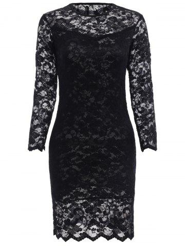 Cheap Lace Tight Homecoming Dress with Sleeves BLACK L
