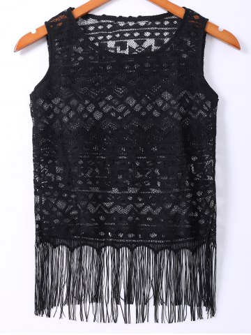 Scoop Neck Tassel Embellished Women's Lace Tank Top - Black - S