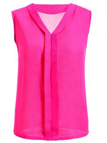 Trendy V-Neck Solid Color Women's Chiffon Tank Top ROSE RED 2XL