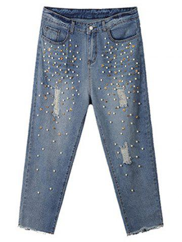 Affordable Plus Size Trendy Beading Studded Jeans BLUE 42