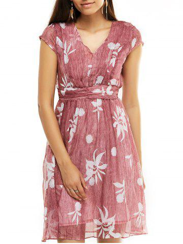 Latest Sweet Women's Floral Print Cap Sleeves Flare Dress