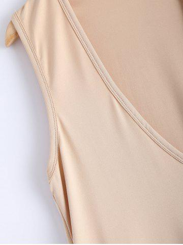 Outfit Simple Deep Scoop Neck Sleeveless Pure Color Stretchy Loose Dress - XL APRICOT Mobile