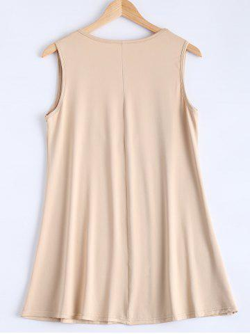 Online Simple Deep Scoop Neck Sleeveless Pure Color Stretchy Loose Dress - S APRICOT Mobile