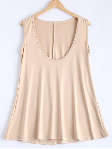 Outfit Simple Deep Scoop Neck Sleeveless Pure Color Stretchy Loose Dress - S APRICOT Mobile