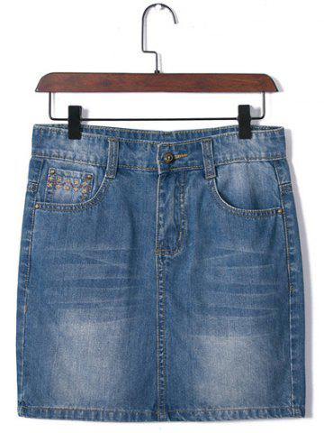 Latest Plus Size Brief Embroidered Distressed Skirt