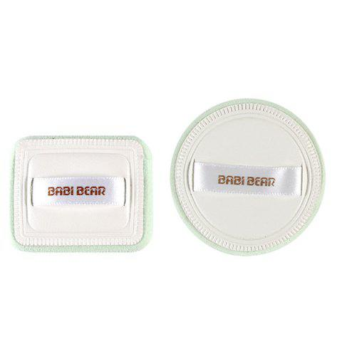 Affordable Stylish 2 Pcs Round and Square Base Makeup BB Cream Wet Use Powder Puffs - WHITE  Mobile