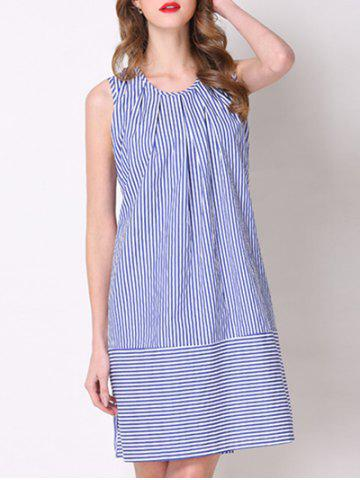 Affordable Trendy Sleeveless Tie-Back Pinstriped Women's Dress
