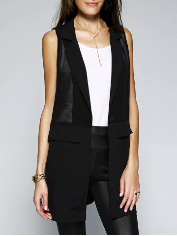 Cheap Stylish Women's Turn-Down Collar Button Spliced See-Through Solid Color Waistcoat
