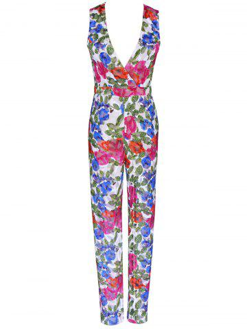 Outfit Plunging Neck Colorful Printed Sleeveless Jumpsuit COLORMIX XL