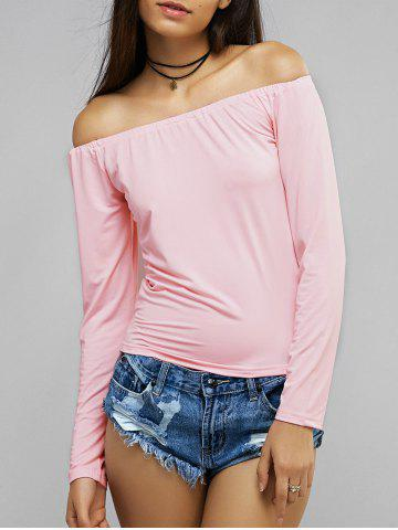 Cheap Pink Long Sleeve Off The Shoulder Blouse