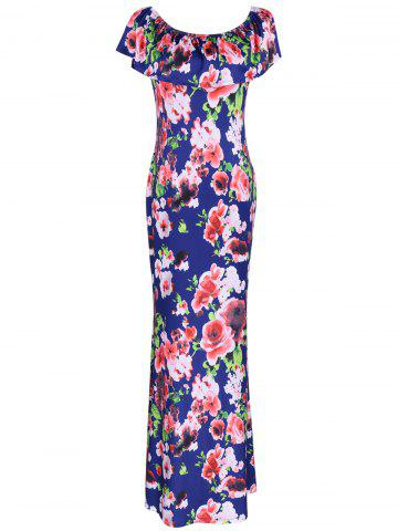 Maxi Off The Shoulder Floral Print Dress - COLORMIX XL