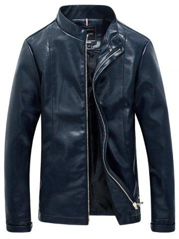Solid Color Faux Leather Zip Up Stand Collar Jacket For Men - Blue - Xl