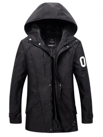 Zippered Snap Button Hooded Coat For Men - Black - M