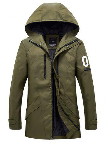 Shops Zippered Snap Button Hooded Coat For Men