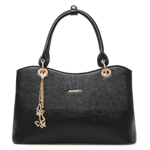 Latest Graceful PU Leather and Chains Design Tote Bag For Women - BLACK  Mobile
