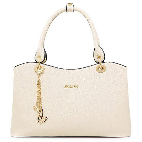 Affordable Graceful PU Leather and Chains Design Tote Bag For Women OFF WHITE