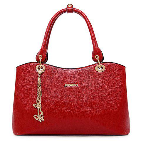 Unique Graceful PU Leather and Chains Design Tote Bag For Women RED