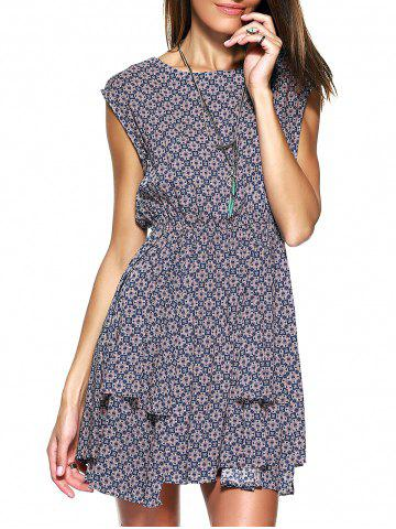 Latest Stylish Women's Round Collar Elastic Waisted Zipper Back Sleeveless Print Dress