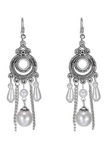 New Faux Pearl Tassel Round Drop Earrings