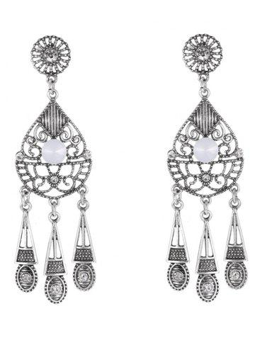 Shop Pair of Water Drop Triangle Earrings SILVER