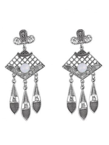 Fashion Leaf Rhinestone Drop Earrings SILVER