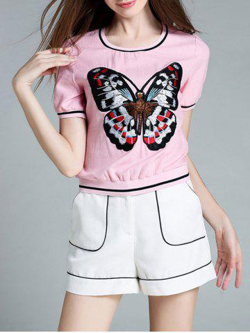 Buy Short Sleeve Butterfly Embroidered T-Shirt + Mini Shorts Women's Twinset