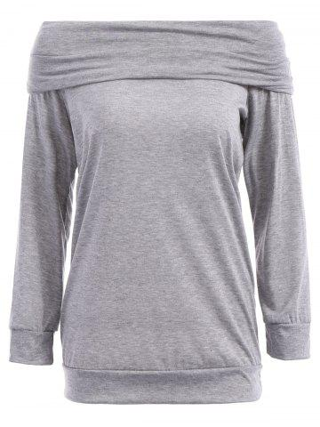 Best Sexy Off The Shoulder Solid Color Long Sleeve Sweatshirt For Women GRAY S