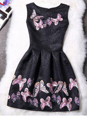 Best Charming Round Neck Sleeveless Butterfly Print Women's Dress