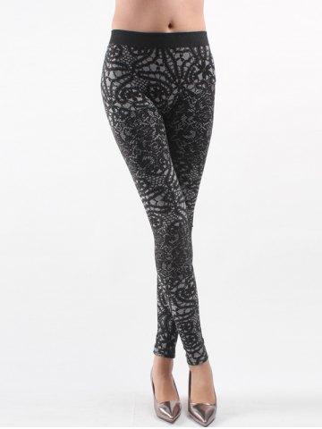 Hot Printed Knitted Leggings For Women - ONE SIZE BLACK Mobile