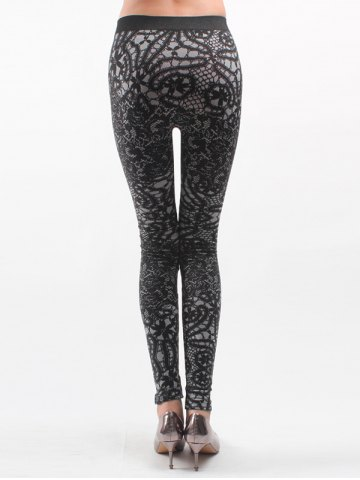 Cheap Printed Knitted Leggings For Women - ONE SIZE BLACK Mobile