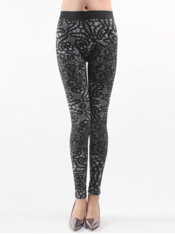 Buy Printed Knitted Leggings For Women - ONE SIZE BLACK Mobile