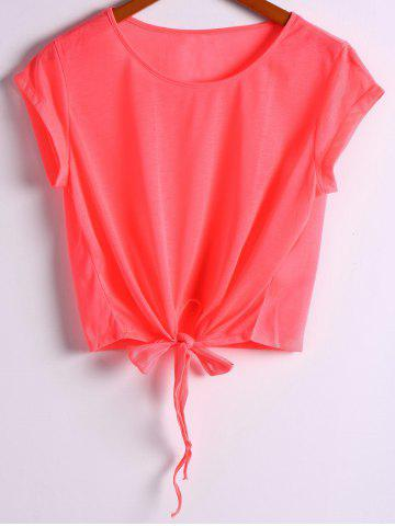 Chic Women's Active Scoop Neck Short Sleeve Candy Color Lace-Up Sport T-Shirt