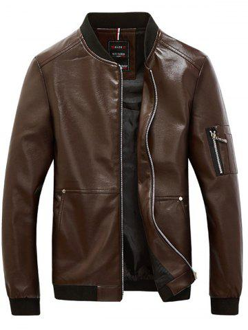 Rib Trim Zippered Faux Leather Jacket For Men