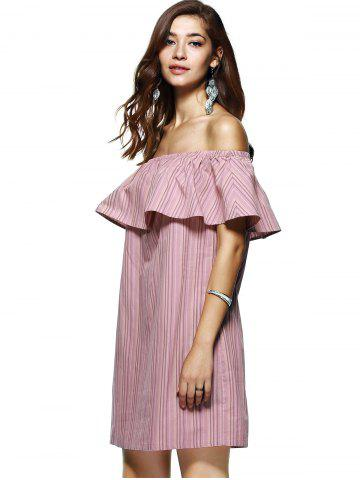 Affordable Off The Shoulder Flounce Stripe Summer Dress - M STRIPE Mobile