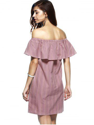 Fancy Off The Shoulder Flounce Stripe Summer Dress - M STRIPE Mobile