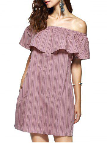 Hot Off The Shoulder Flounce Stripe Summer Dress - M STRIPE Mobile