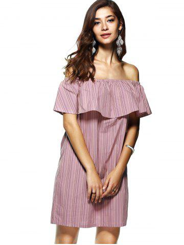 Online Off The Shoulder Flounce Stripe Summer Dress - M STRIPE Mobile