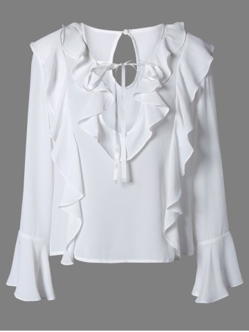 Unique Plunging Neck Bell Sleeve Ruffled Blouse WHITE L