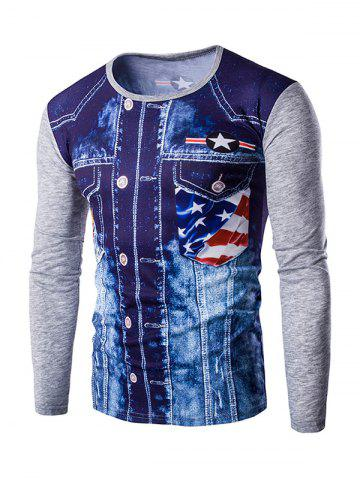 Shops Round Neck 3D Eagle Flag Printing Long Sleeves T-Shirt For Men GRAY 2XL