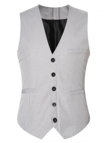 Discount Buckle Back Solid Color Single Breasted Vest For Men