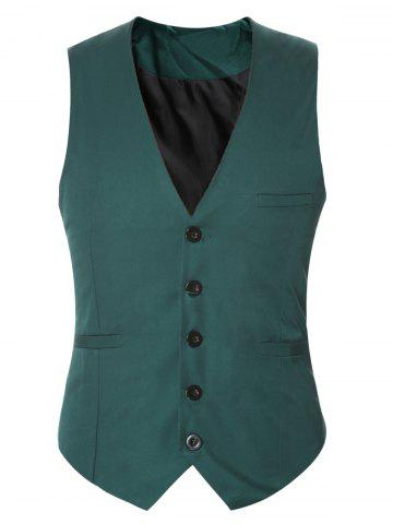 Cheap Buckle Back Solid Color Single Breasted Vest For Men
