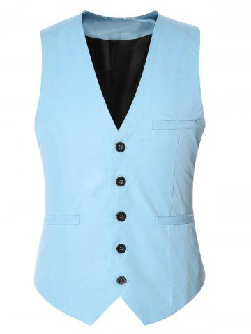 Outfit Buckle Back Solid Color Single Breasted Vest For Men