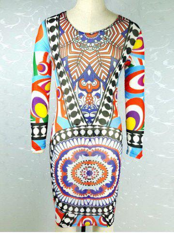 Fashion Tribe Print Long Sleeve Dress